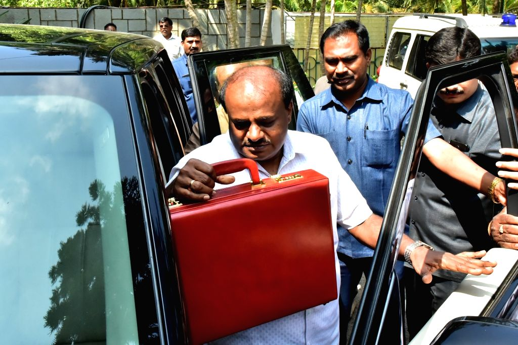 Karnataka Chief Minister H. D. Kumaraswamy, who also holds the Finance portfolio arrives to present the state budget 2019-20 at the state assembly, in Bengaluru on Feb 8, 2019. - H. D. Kumaraswamy