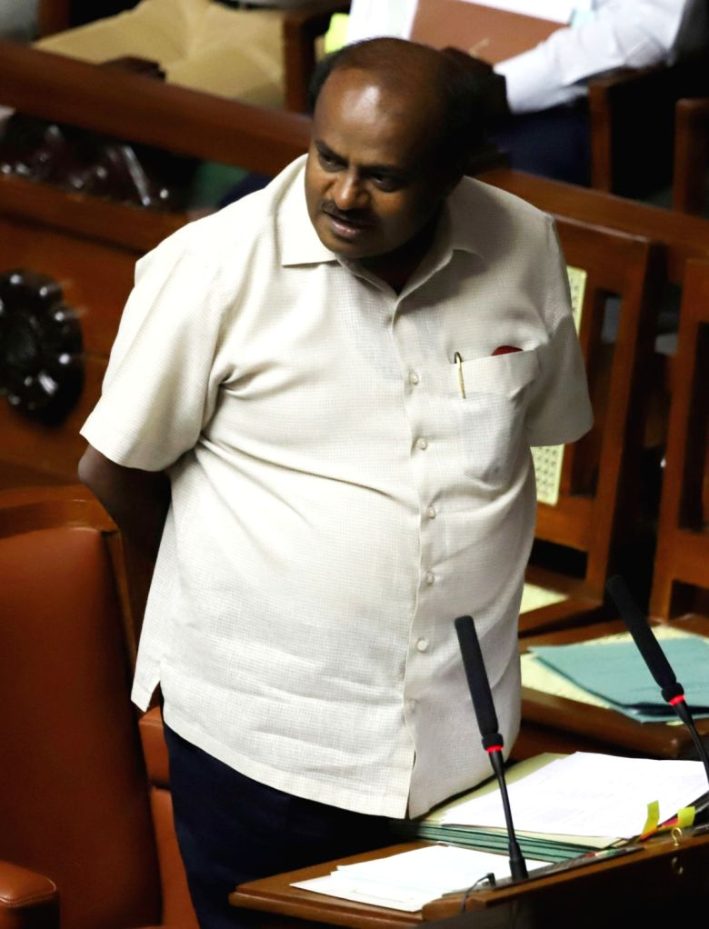 Karnataka Chief Minister HD Kumaraswamy during the discussion on audiogate controversy at the Assembly Session at Vidhana Soudha, in Bengaluru on Feb 11, 2019. - H