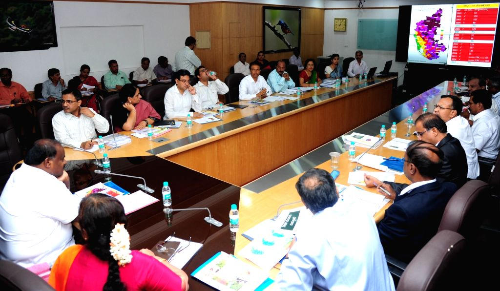 Karnataka Chief Minister HD Kumaraswamy during a review meeting of Department of Agriculture, Sericulture and Horticulture at Vidhan Soudha in Bengaluru on June 2, 2018. - H