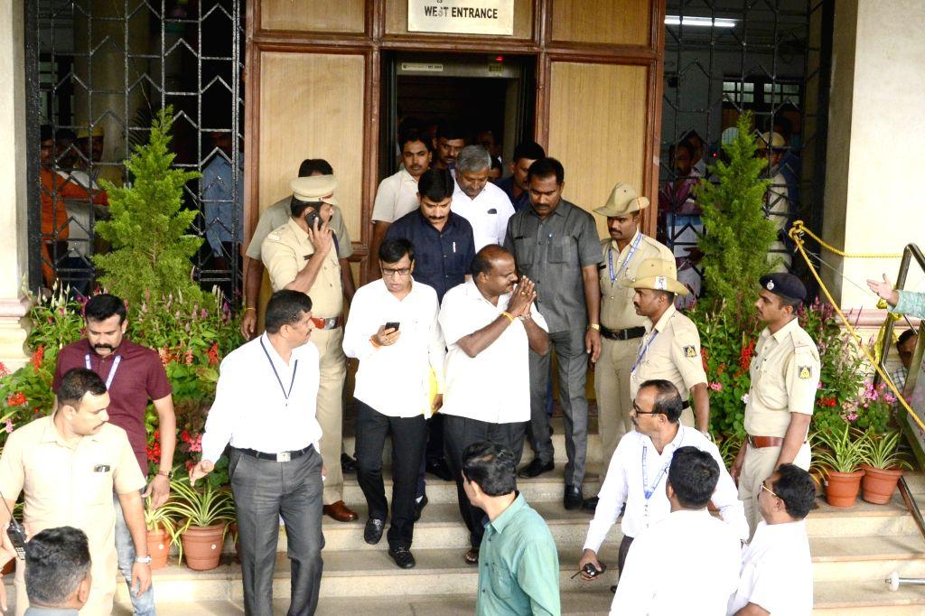 Karnataka Chief Minister HD Kumaraswamy leaves Vidhana Soudha after meeting Karnataka Assembly Speaker Ramesh Kumar in Bengaluru on July 17, 2019. - Ramesh Kumar