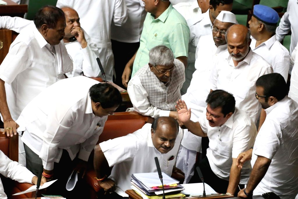 Karnataka Chief Minister HD Kumaraswamy who moved confidence motion in state assembly in Bengaluru on July 18, 2019. - H