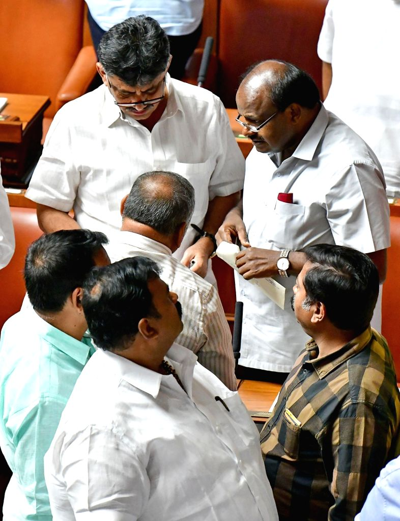 Karnataka Chief Minister HD Kumarswamy during budget session of state assembly in Bengaluru, on Feb 14, 2019. - H