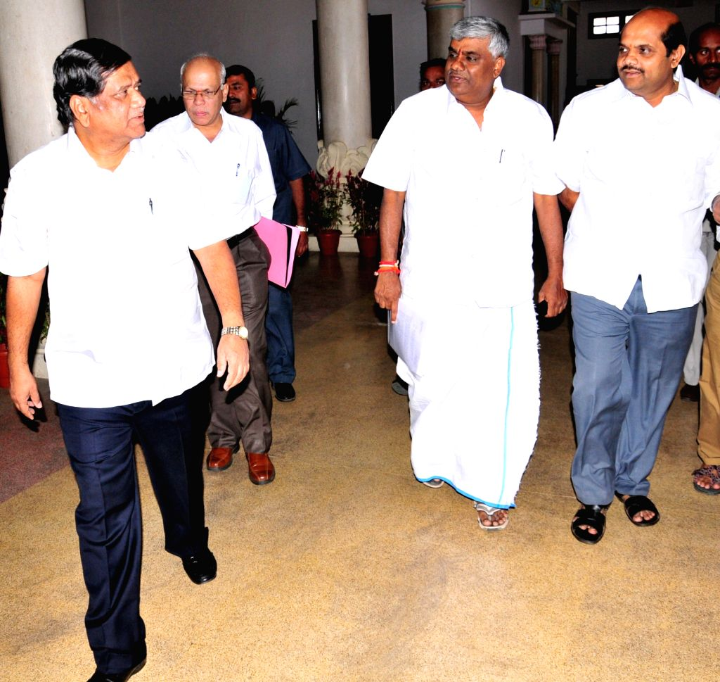 Karnataka Chief Minister Jagadish Shetter arriving with Janata Dal (S) Opposition Party Leader HD Revanna during the Karnataka Assembly  Joint Session at Vidhana Soudha, in Bangalore on Monday 4th of - Jagadish Shetter