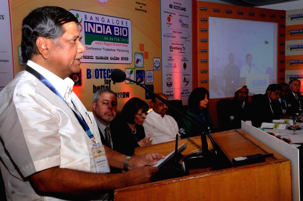 Karnataka Chief Minister Jagadish Shetter addressing at the Bangalore India Biotech Show 2013 at Hotel lalit Ashok, in Bangalore on Monday 4th of February 2013. - Jagadish Shetter