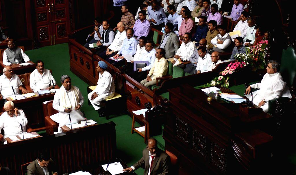 Karnataka Chief Minister Siddaramaiah addresses at Vidhana Soudha, in Bengaluru on July 5, 2016. - Siddaramaiah