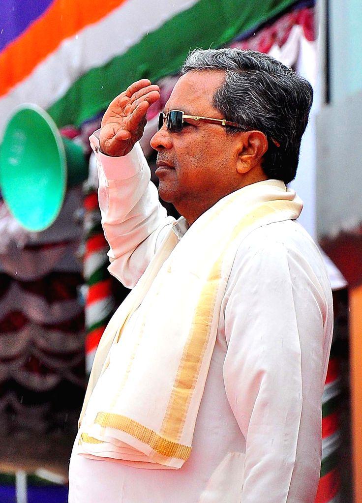 Karnataka Chief Minister Siddaramaiah during Independence Day programme inBengaluru on Aug 15, 2017. - Siddaramaiah