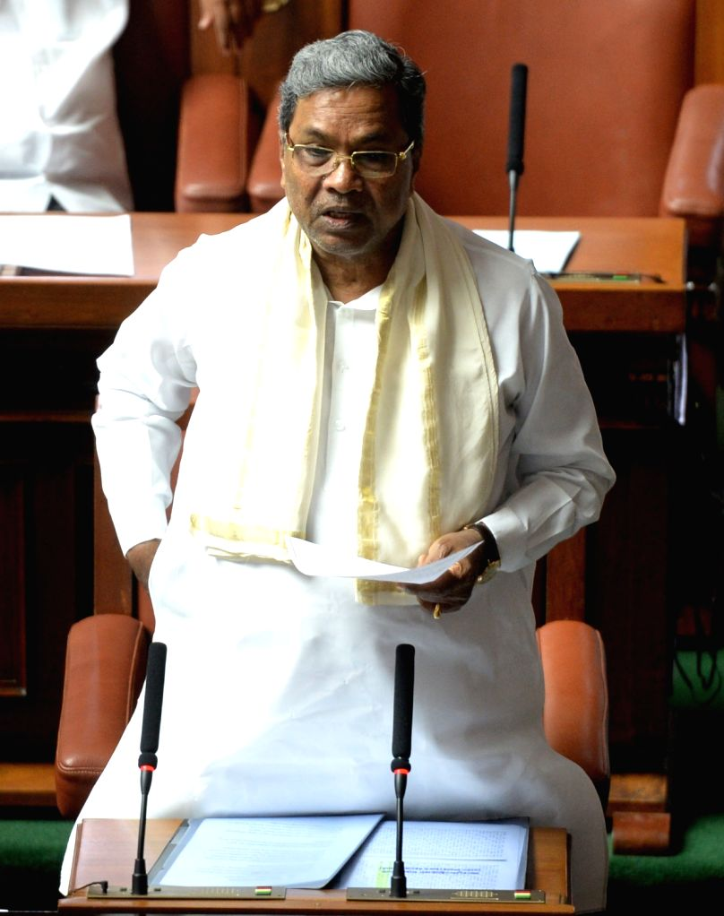 Karnataka Chief Minister Siddaramaiah during a special session of the state assembly called to discuss Cauvery water dispute with Tamil Nadu in Bengaluru on Sept 23. - Siddaramaiah