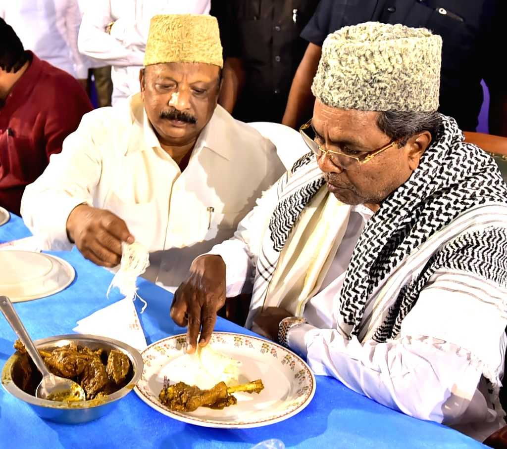 Karnataka Chief Minister Siddaramaiah during an Iftaar party in Bengaluru, on June 8, 2017. - Siddaramaiah