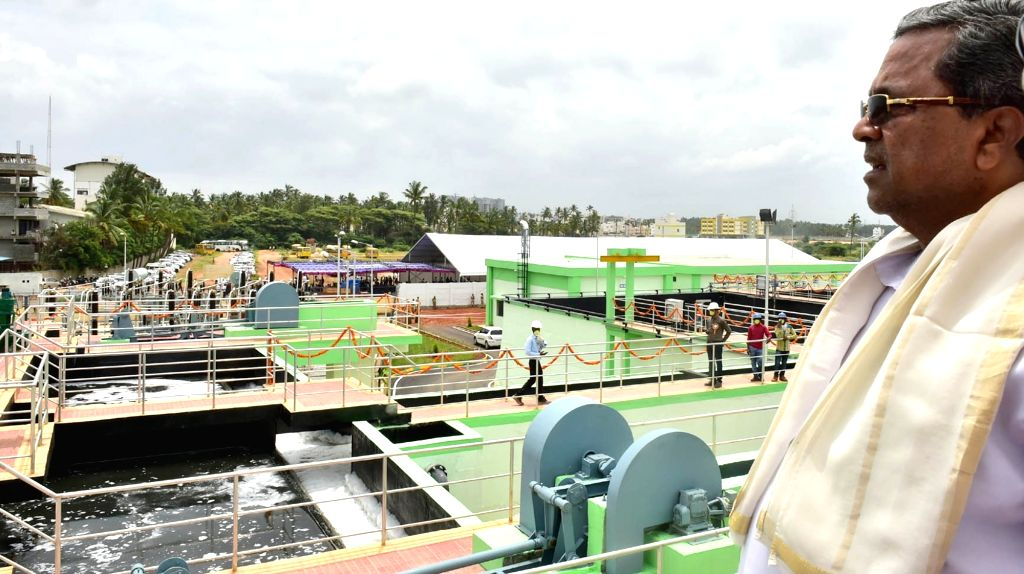 Karnataka Chief Minister Siddaramaiah during the inauguration of the newly constructed Sewage Water Treatment Plant in Bengaluru on July 7, 2017. - Siddaramaiah