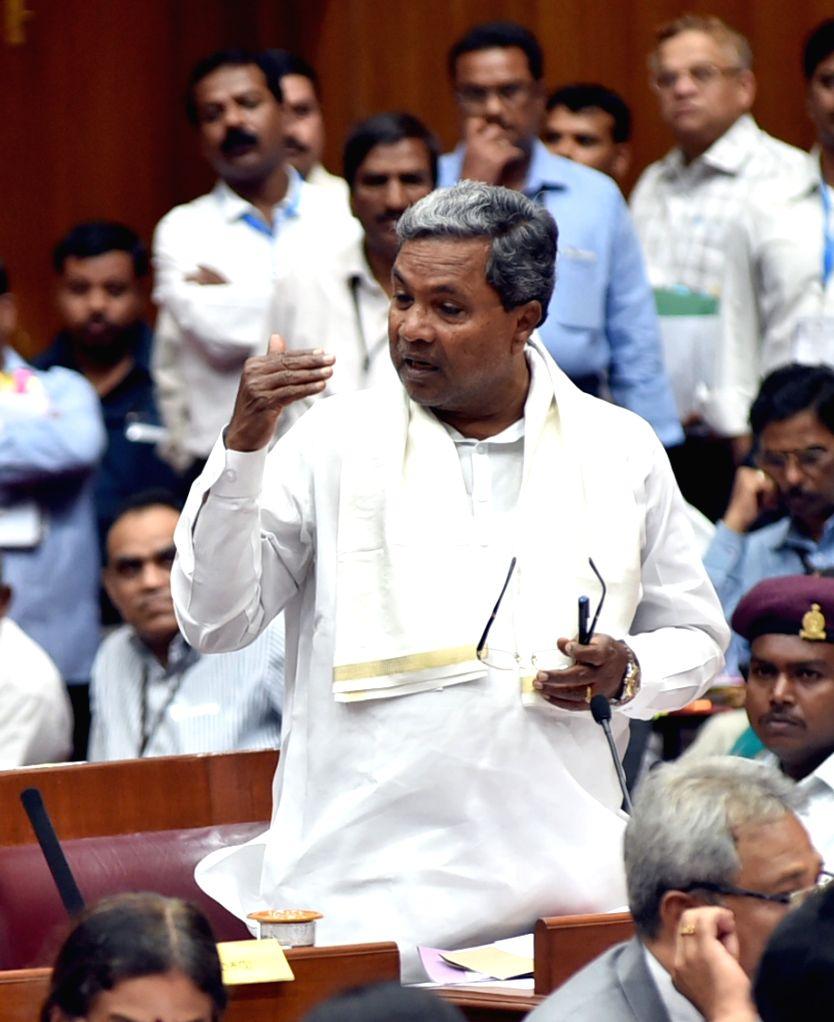 Karnataka Chief Minister Siddaramaiah speaks at Karnataka Legislative Assembly at Suvarna Soudha, in Belagavi on June 29, 2015. - Siddaramaiah