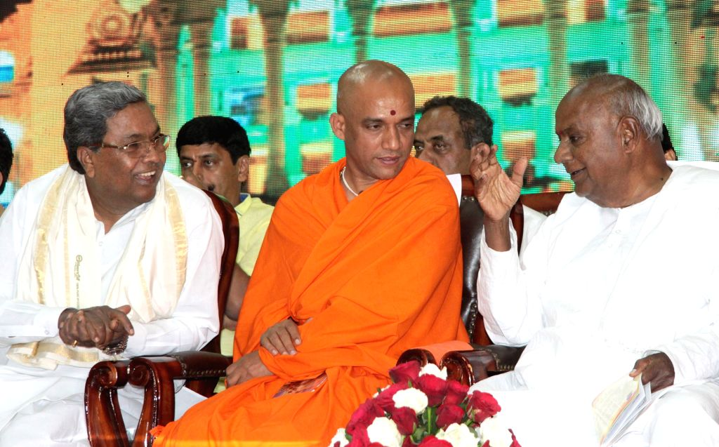 Karnataka Chief Minister Siddaramaiah, Union Minister of Statistics and Programme Implementation D.V. Sadananda Gowda, JD(S) supremo HD Deve Gowda and Adichunchanagiri Mut's Nirmalananda ... - Siddaramaiah