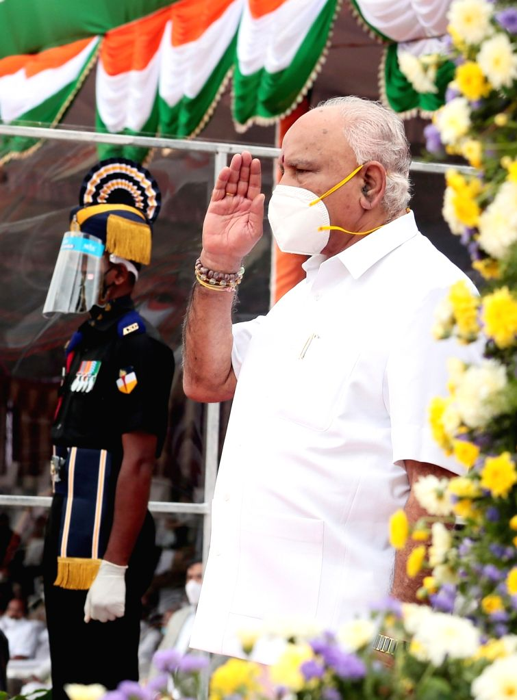 Karnataka Chief Minnister BS Yediyurappa takes slaute from the marching contingents during 74th Independence Day parade at Manekshaw Parade Grounds in Bengaluru on Aug 15, 2020.