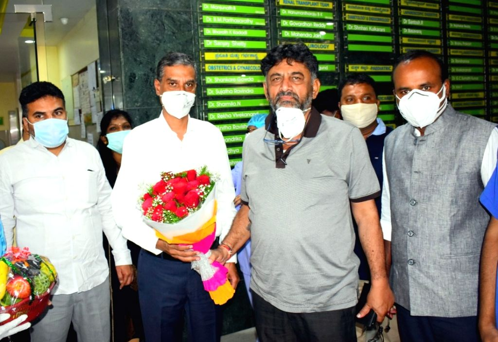 Karnataka Congress President DK Shivakumar discharged from hospital after recovering from COVID-19, in Bengaluru on Aug 31, 2020.