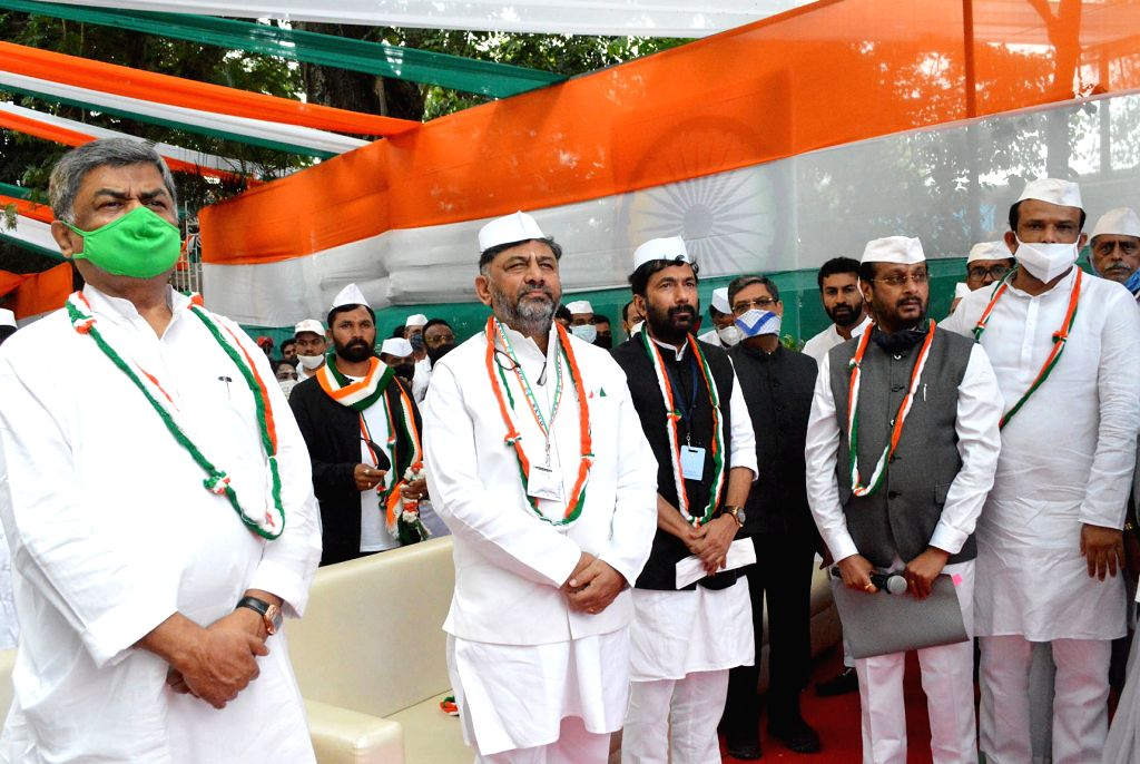 Karnataka Congress President DK Shivakumar and party leaders BK Hariprasad, Saleem Ahamed, Narayan Swamy during the 74th Independence Day celebrations at Congress Bhavan, in Bengaluru on ...