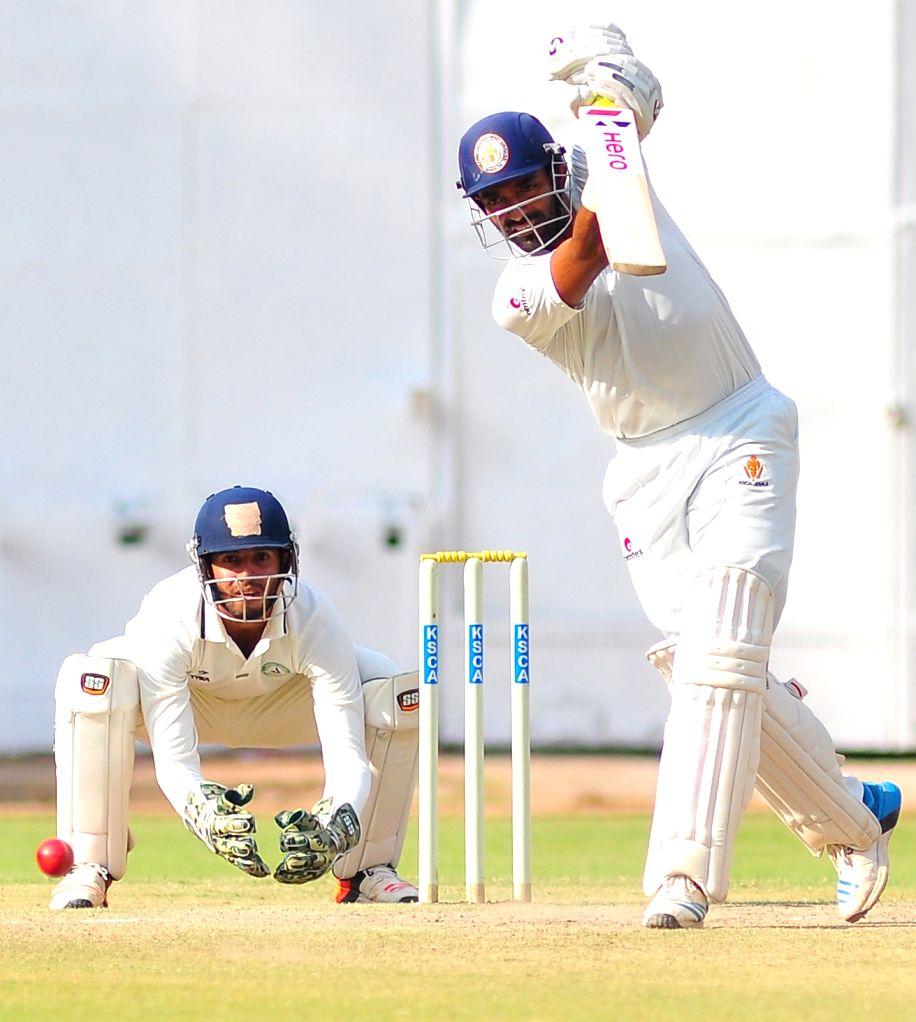 Karnataka cricketer Robbin Uttappa in action during the Ranji Trophy Match between Vidharba and Karnataka at Chinnaswamy Stadium, in Bangalore on Oct 17, 2015.
