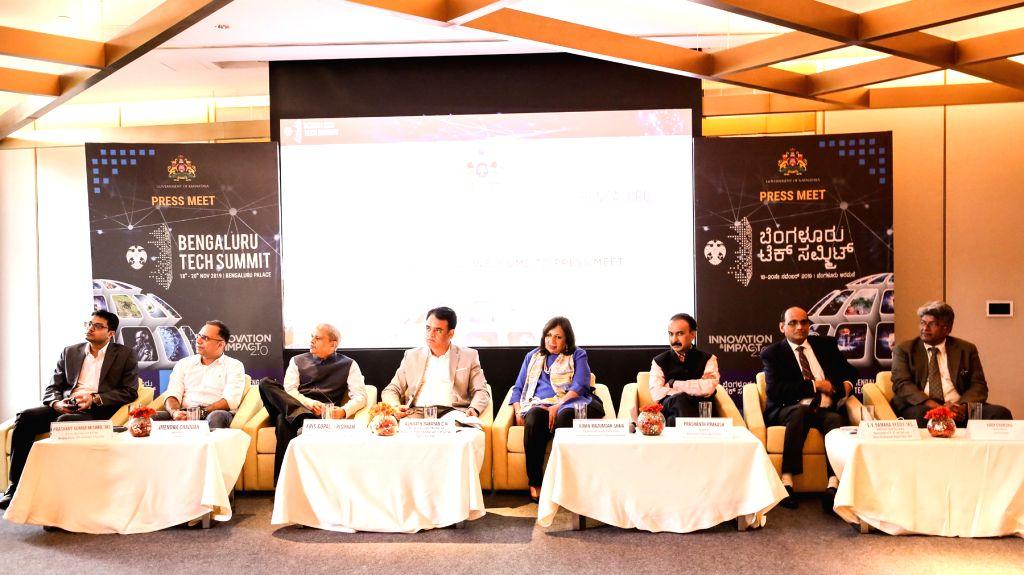 Karnataka Deputy Chief Minister Ashwath Narayan, Biocon Chairperson Kiran Mazumdar Shaw and Infosys Founder Kris Gopalakrishnan and other dignitaries at the Bengaluru Tech Summit 2019 ... - Ashwath Narayan