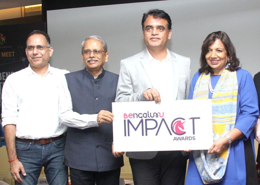 Karnataka Deputy Chief Minister C. N. Ashwath Narayan and Biocon CMD Kiran Mazumdar Shaw during a press conference on Benagluru Tech Summit 2019, in Bengaluru on Nov 12, 2019. - C. N. Ashwath Narayan