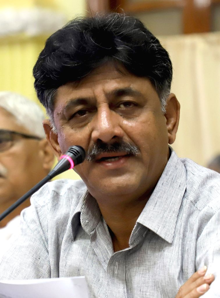 Karnataka Energy Minister D.K. Shivakumar addresses a press conference at Vidhan Soudha, in Bengaluru on March 28, 2018. - D.