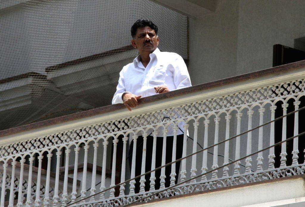 Karnataka Energy Minister DK Shivakumar at his residence during the Income Tax department raids in Bengaluru on Aug 2, 2017. - D