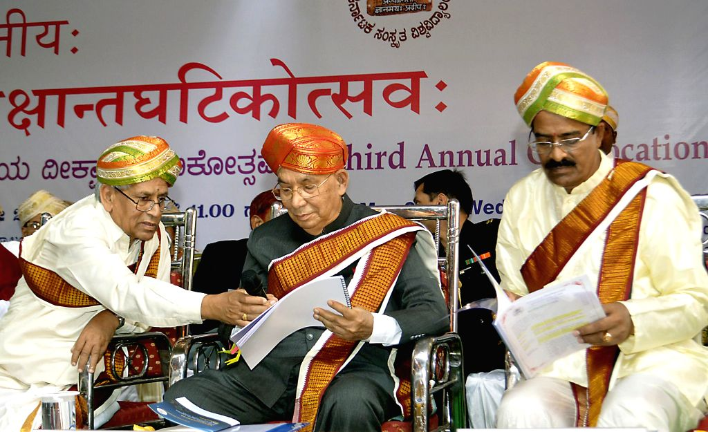 Karnataka Governor H.R Bharadwaj during the 3rd Convocation of Karnataka Sanskrit University in Bangalore on May 7, 2014.