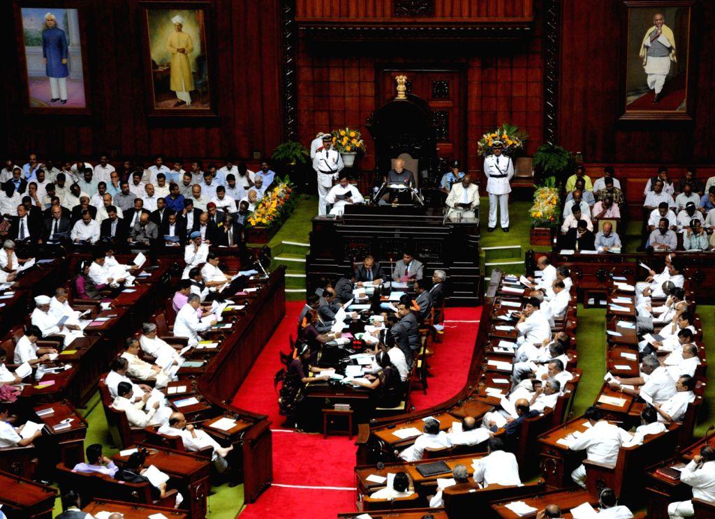 Karnataka Governor HR Bharadwaj delivering his speech during the Karnataka Assembly  Joint Session at Vidhana Soudha, in Bangalore on Monday 4th of February 2013.