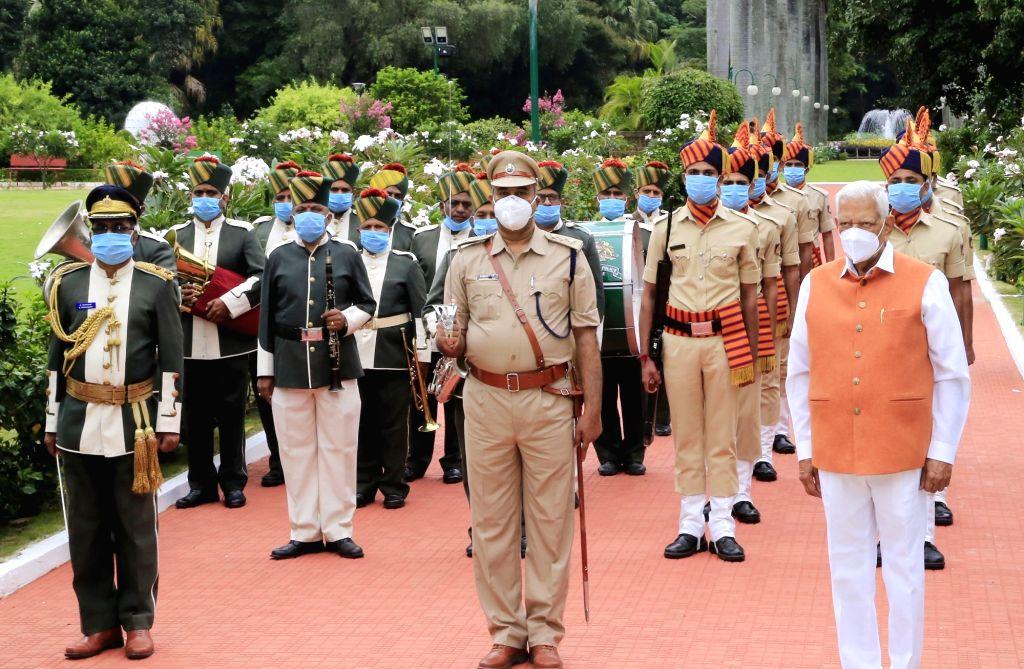 Karnataka Governor Vajubai Vala during the flag hoisting ceremony on the 74th Independence Day in Bengaluru on Aug 15, 2020.