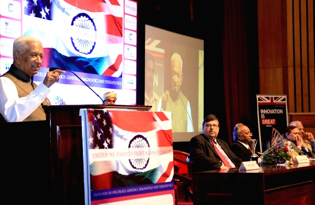 "Karnataka Governor Vajubhai Rudabhai Vala addresses at he inauguration of ""Global Cancer Summit-2015"" International Collaborative Conference at IISc in Bengaluru, on Nov 18, ..."
