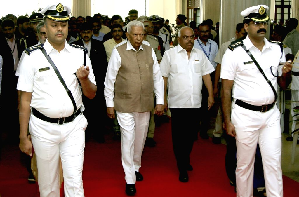 Karnataka Governor Vajubhai Vala and state assembly Speaker K. R. Ramesh Kumar arrives at the state assembly's Budget Session, in Bengaluru on Feb 6, 2019. - K. R. Ramesh Kumar