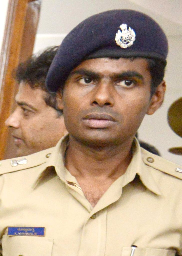 Karnataka Indian Police Service (IPS) officer K. Annamalai, who resigned from the high-profile job as Bengaluru South Division Deputy Commissioner of Police, in Bengaluru, on May 28, 2019. ...