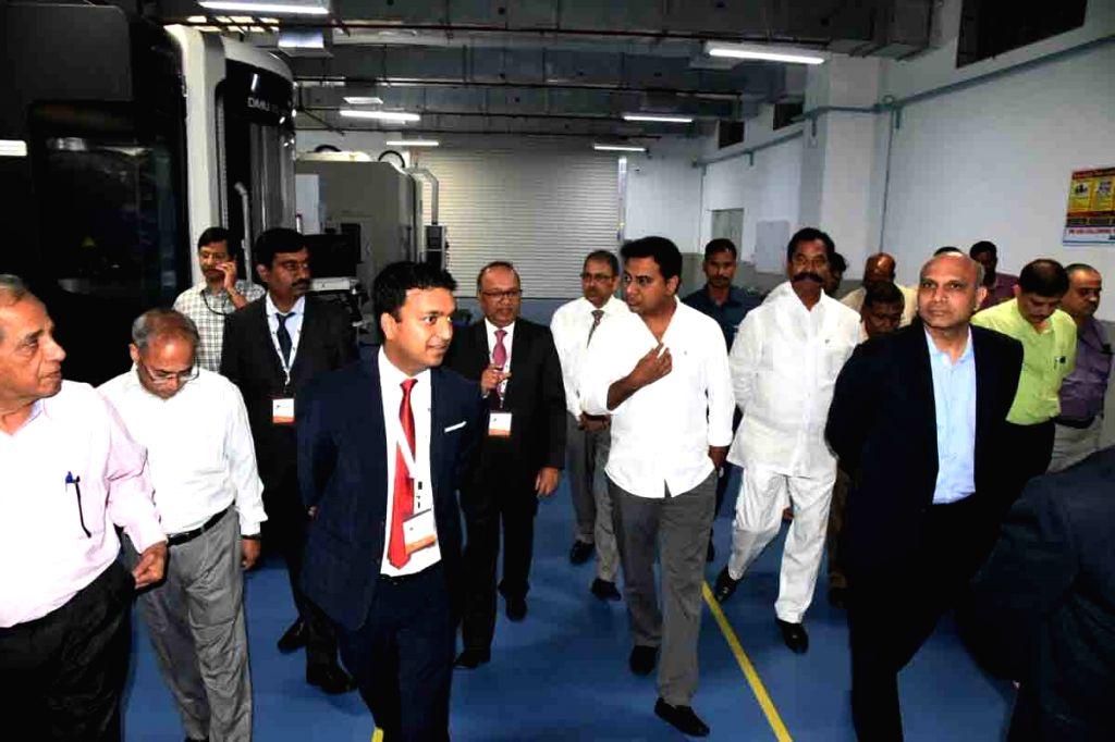 Karnataka Information and Broadcasting Minister K. T. Rama, Scientific Adviser to Raksha Mantri and Missiles and Strategic Systems DG G. Satheesh Reddy, Nucon Aerospace directors Akash and ... - K. T. Rama and G. Satheesh Reddy