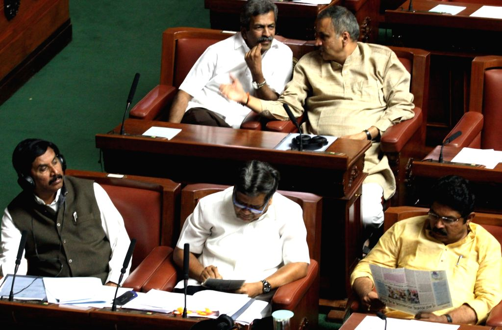 Karnataka legislators during a special session of the state assembly called to discuss Cauvery water dispute with Tamil Nadu in Bengaluru on Sept 23.