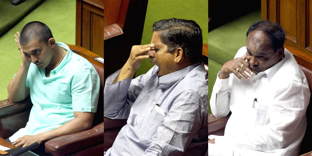 Karnataka legislators during Karnataka Legislative Assembly's monsoon session in Bangalore on June 25, 2014.