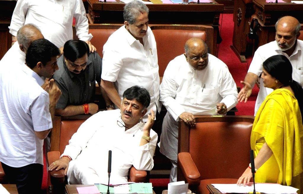 Karnataka Minister D. K. Shivakumar during the Karnataka Legislative Council Session at the state assembly, in Bengaluru on July 16, 2019. - D. K. Shivakumar