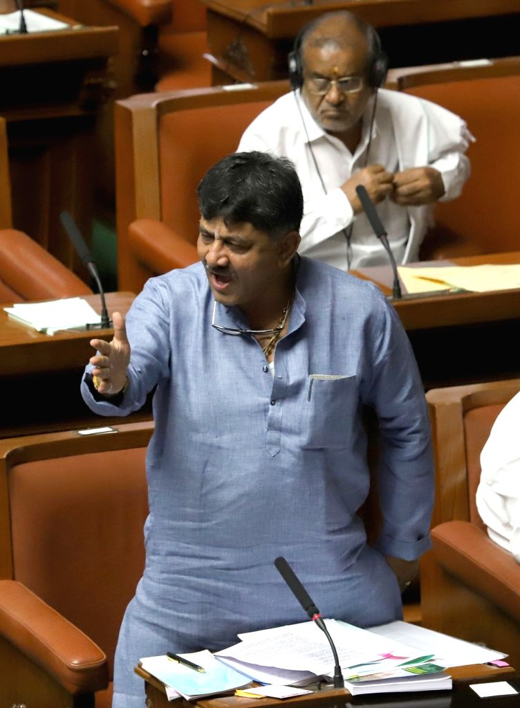 Karnataka Minister  DK Shivakumar in the state assembly where Chief Minister HD Kumaraswamy moved motion of confidence in Bengaluru on July 18, 2019. - D