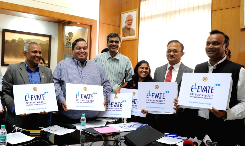 Karnataka Minister Priyank M Kharge unveils the official logo and website of ELEVATE 2017 - a flagship initiative to support as many as 100 Start-ups  during the curtain raiser at Vikasa ... - Priyank M Kharge