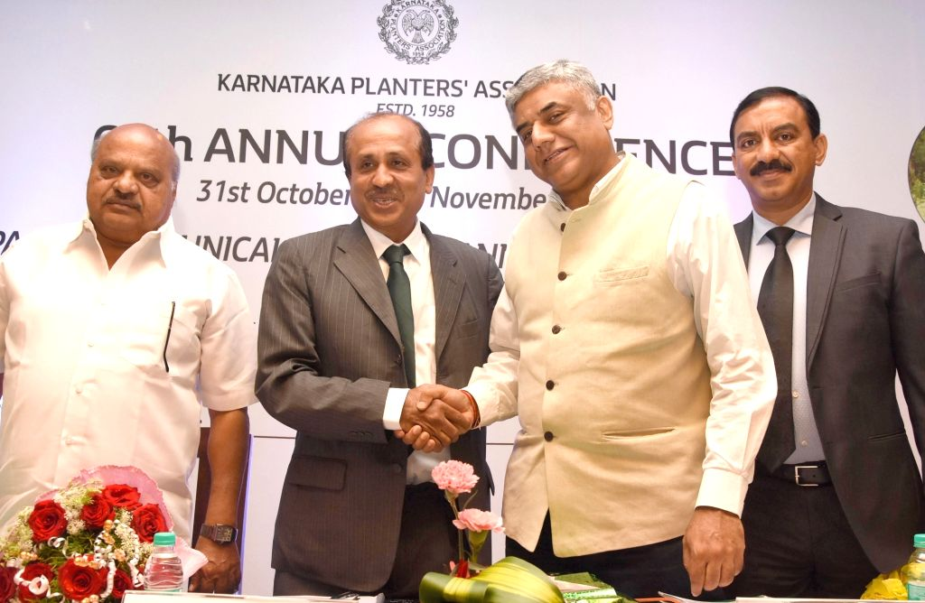 Karnataka Planters Association Chairman HT Pramod with Dr. V Rajeevgowda during 60th Annual Conference of Karnataka Planters Association, in Bengaluru on Nov. 1, 2018.