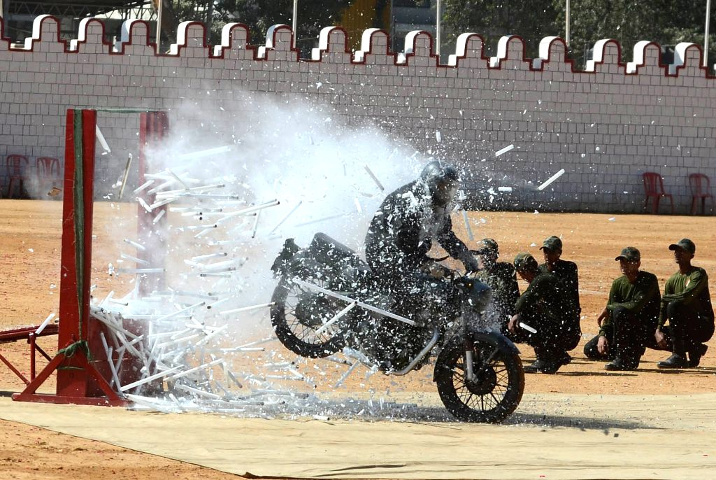 Karnataka Police personnel perform stunts during the 71st Republic Day celebrations at Manekshaw Parade Ground in Bengaluru on Jan 26, 2020.