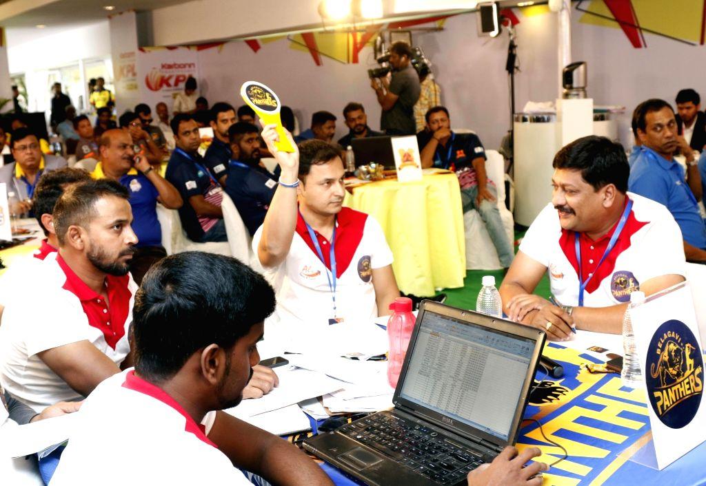 Karnataka Premier League auctions underway in Bengaluru, on Aug 6, 2017.