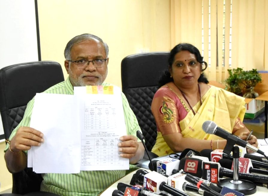 Karnataka Primary & Secondary Education Minister S. Suresh Kumar declares the results for Karnataka Secondary School Leaving Certificate (SSLC) board exams at a press conference in ... - S. Suresh Kumar