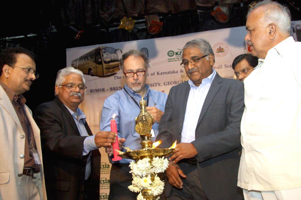 Karnataka Transport Minister Ramalinga Reddy during ASRTU vendor development meet at KASSIA in Bangalore on Aug 26, 2014. - Ramalinga Reddy