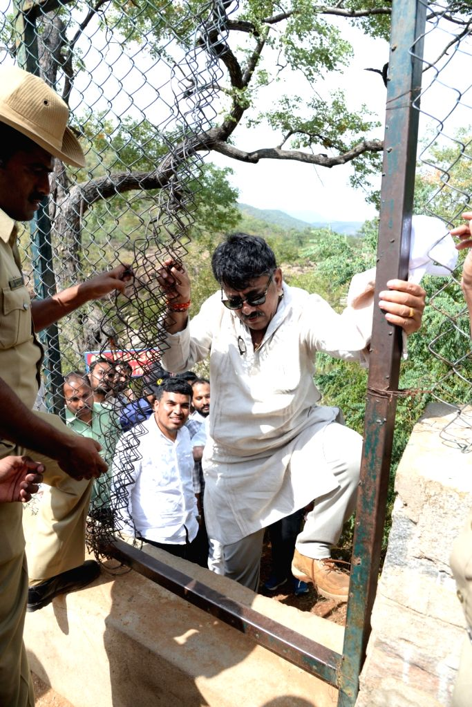 Karnataka Water Resources Minister D. K. Shivakumar during his visit to the site where the proposed Mekedatu dam would be constructed across Cauvery river, in Mysuru on Dec 7, 2018. - D. K. Shivakumar