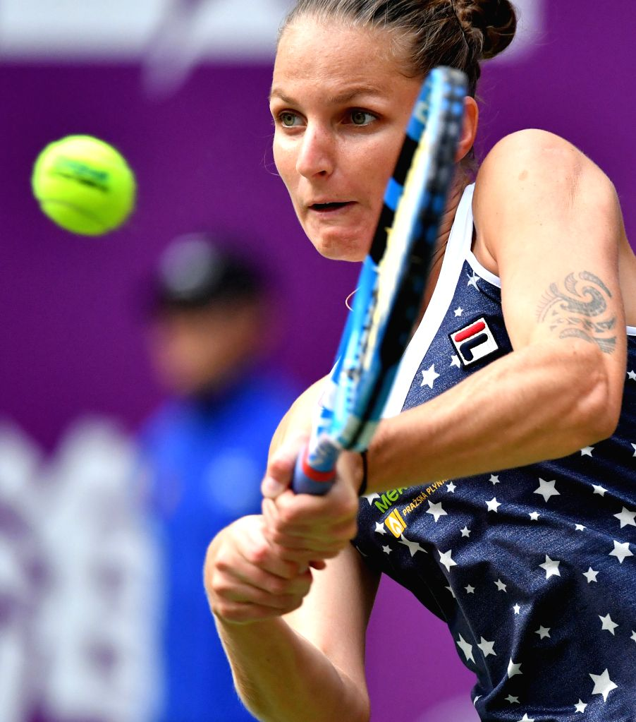 : Karolina Pliskova of the Czech Republic hits a return during the women's singles final match against Caroline Garcia of France at the WTA Tianjin Open ...