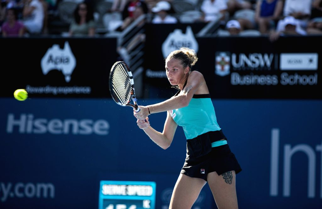 Karolina Pliskova of the Czech Republic plays a shot to Simona Halep of Romania during their match at the Sydney International tennis tournament in Sydney, ...