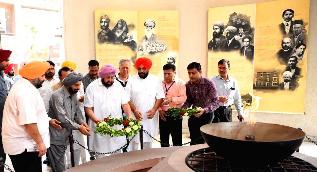 Kartarpur: Punjab Chief Minister Amarinder Singh during inauguration of the third phase of the Jung-e-Azadi memorial in Kartarpur, Punjab on Aug 14, 2019. (Photo: IANS) - Amarinder Singh