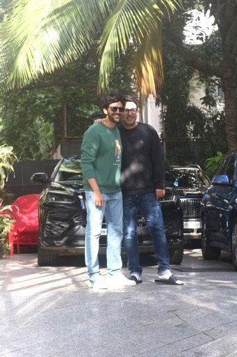 Kartik Aaryan And Producer Dinesh Vijan Spotted Outside Maddock Office In Santacruz on 04 october,2021.