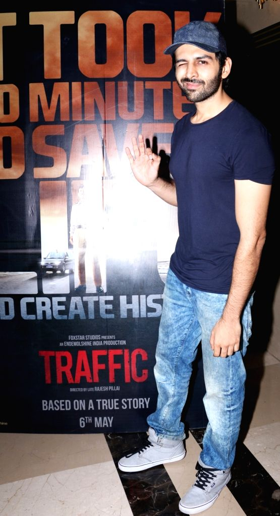 Kartik Aaryan during the screening of film Traffic in Mumbai on May 5, 2016.