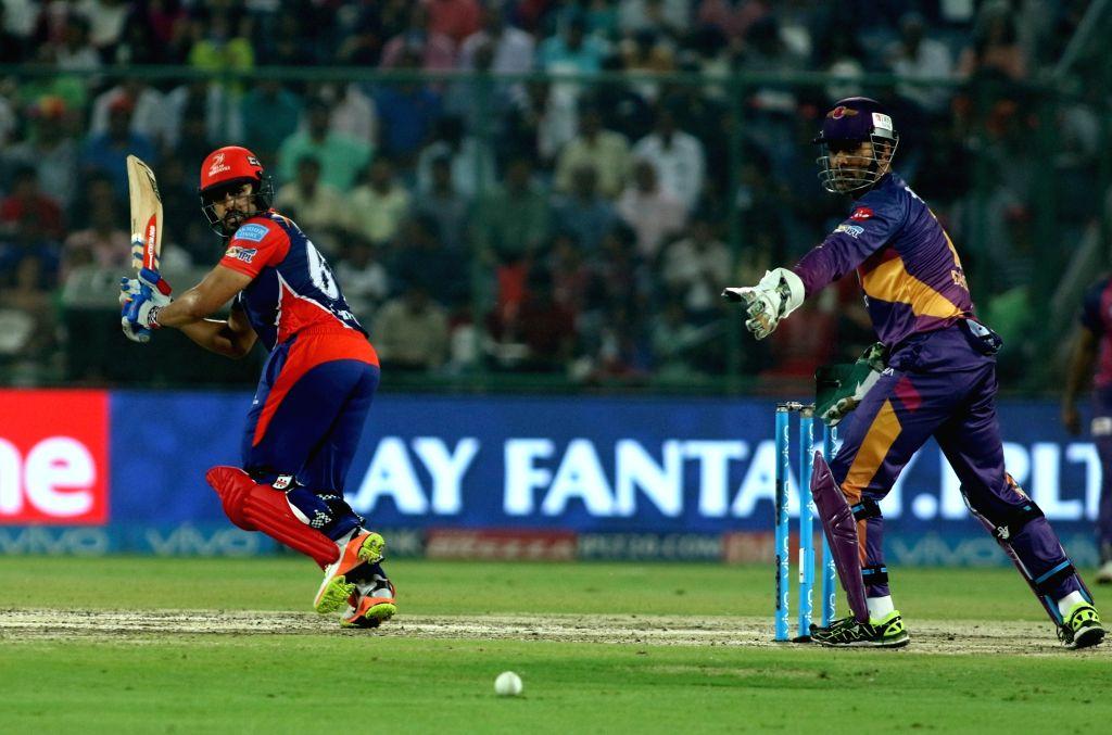 Karun Nair of the Delhi Daredevils bats during match between the Delhi Daredevils and the Rising Pune Supergiant held at the Feroz Shah Kotla Stadium in Delhi on May 12, 2017.
