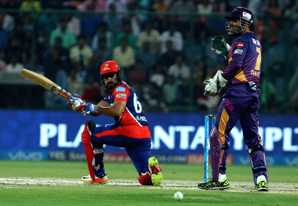 Karun Nair of the Delhi Daredevils in action during the match between the Delhi Daredevils and the Rising Pune Supergiant held at the Feroz Shah Kotla Stadium in Delhi on May 12, 2017.