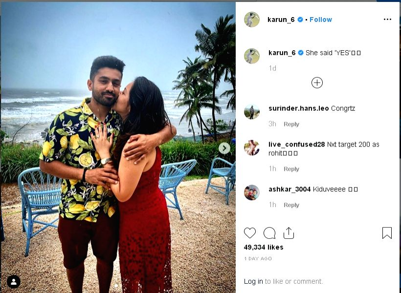 Karun Nair, the second Indian cricketer after Virender Sehwag to score a triple century in Test cricket, got engaged to his longtime girlfriend Sanaya Tankariwala