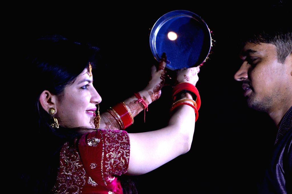 Karva Chauth celebrations underway in New Delhi on Oct 17, 2019.
